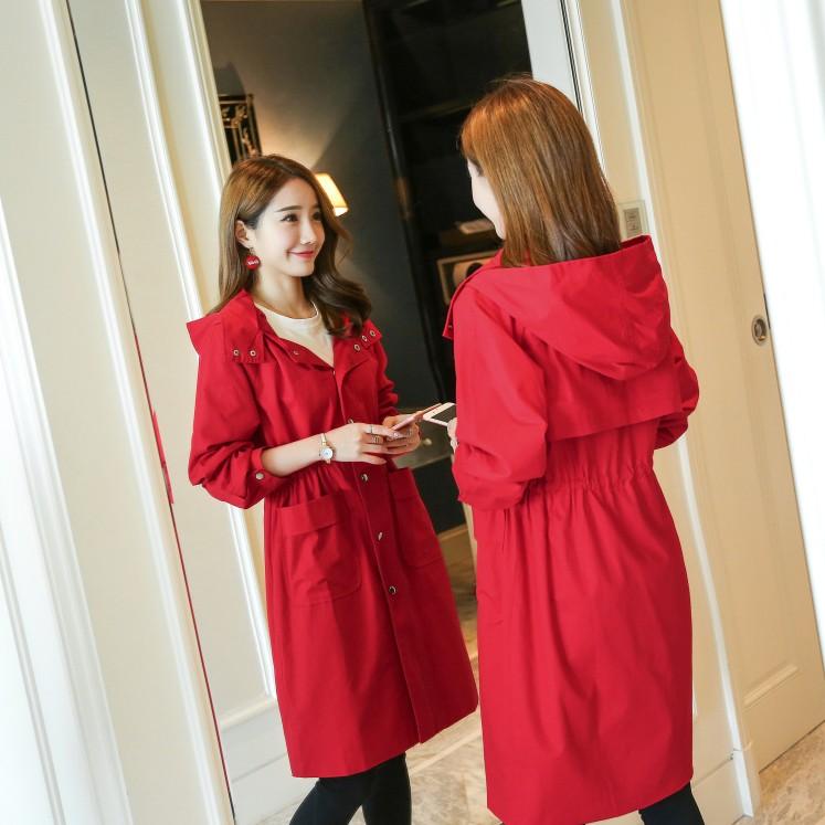 红色风衣 2017秋季新款加大码女装胖MM韩版修身显瘦中长款风衣外套200斤潮_推荐淘宝好看的红色风衣