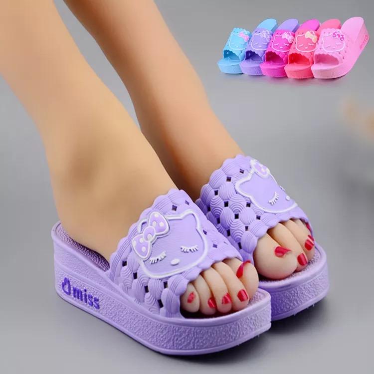 紫色厚底鞋 2017新品紫色塑胶夏季坡跟日常凉拖鞋厚底韩版一字拖鱼嘴高跟时尚_推荐淘宝好看的紫色厚底鞋