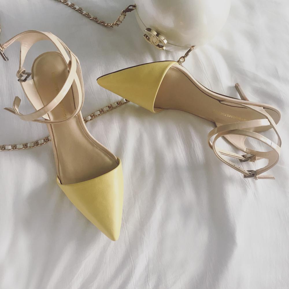 黄色高跟鞋 CHERRYBOOM小番茄定制 细带高跟凉鞋 夏季新款女鞋黄色尖头高跟鞋_推荐淘宝好看的黄色高跟鞋