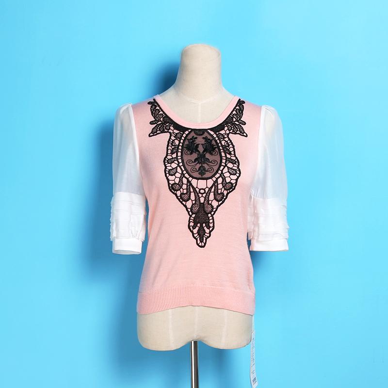 粉红色针织衫 活动款◆品牌折扣女装正品2017秋季新款韩版宽松针织衫_推荐淘宝好看的粉红色针织衫