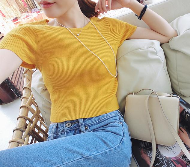 韩版短袖针织衫 2016夏季新款韩版露脐短款纯色短袖T恤修身紧身针织衫打底女上衣_推荐淘宝好看的女韩版短袖针织衫
