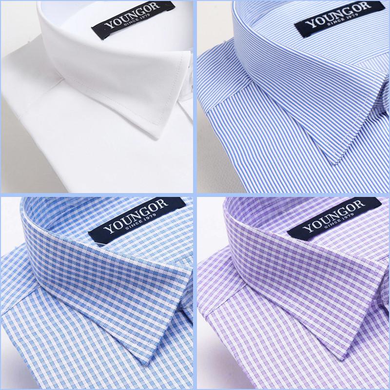 白色衬衫 雅戈尔长袖衬衫男士秋季纯棉免烫格子条纹中年商务职业正装白衬衣_推荐淘宝好看的白色衬衫