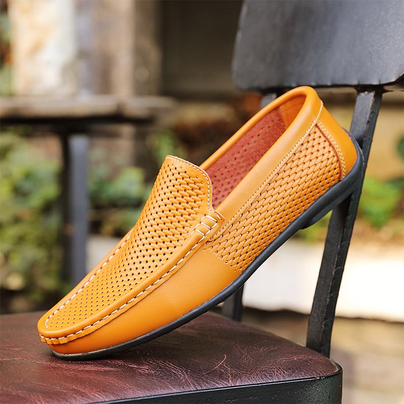 黄色豆豆鞋 夏季透气凉鞋男真皮镂空黄色豆豆鞋软底软面皮鞋男士一脚蹬休闲鞋_推荐淘宝好看的黄色豆豆鞋