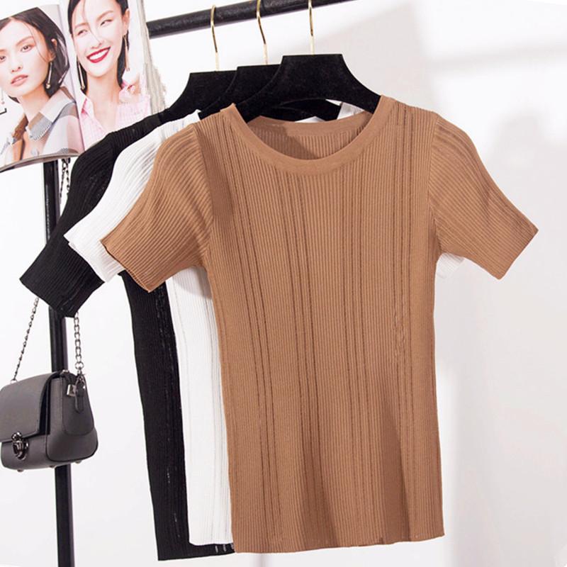 短袖针织衫 2017春夏季新款韩版修身间隔镂空短袖冰丝针织衫T恤女打底薄上衣_推荐淘宝好看的女短袖针织衫
