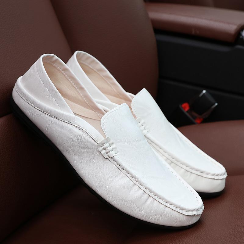 白色豆豆鞋 男青年dd痘痘豆豆懒鞋夏季小脚牛仔七分短裤休闲搭配白色单层皮鞋_推荐淘宝好看的白色豆豆鞋