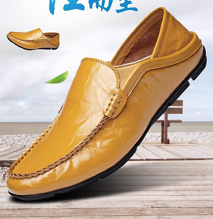 黄色豆豆鞋 夏秋透气皮鞋男真皮百搭黄色豆豆鞋软底软面皮鞋男士一脚蹬休闲鞋_推荐淘宝好看的黄色豆豆鞋
