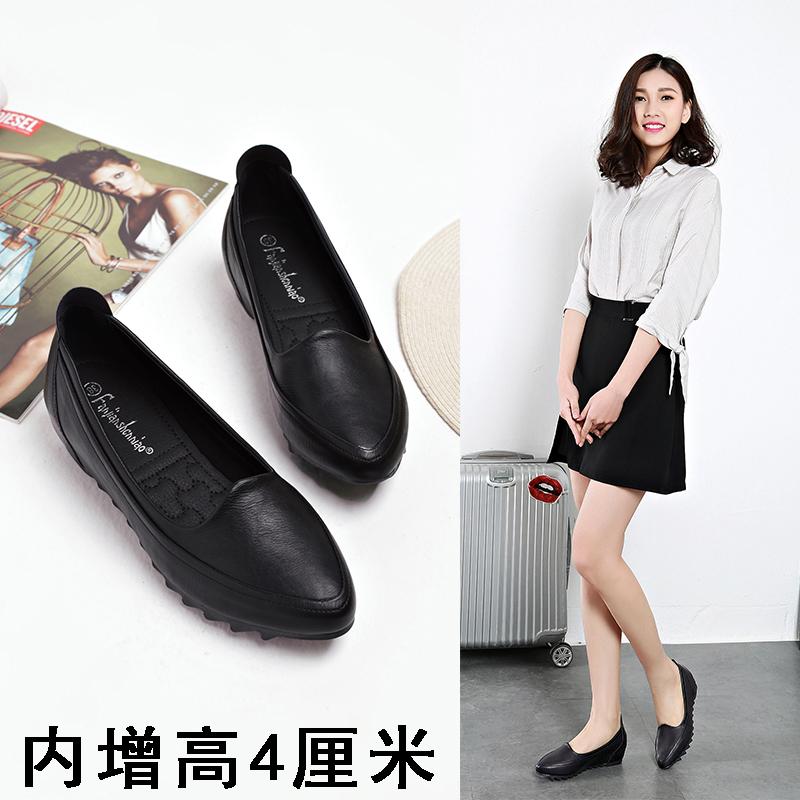韩版坡跟鞋 韩版显瘦大码百搭女鞋黑色平底工作鞋软底内增高单鞋坡跟小码鞋32_推荐淘宝好看的韩版坡跟鞋