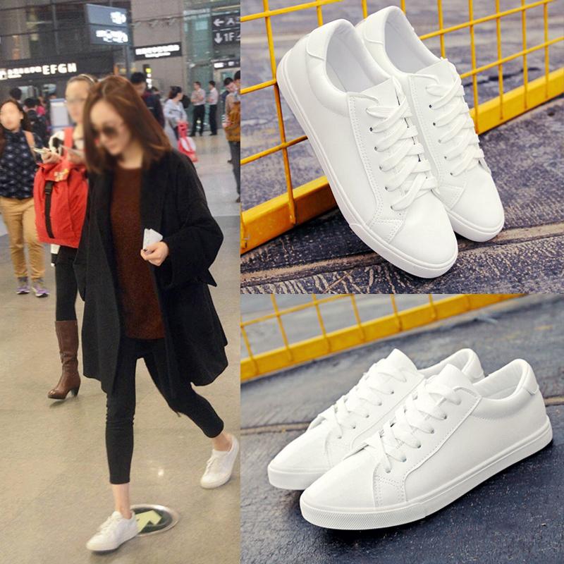 白色平底鞋 明星同款皮面帆布鞋女白板鞋小白女鞋韩版潮休闲平底鞋百搭学生鞋_推荐淘宝好看的白色平底鞋