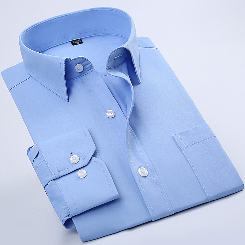 黑色衬衫 秋季纯蓝色衬衫男长袖商务职业工装纯色衬衣男寸衫酒店上班工作服_推荐淘宝好看的黑色衬衫