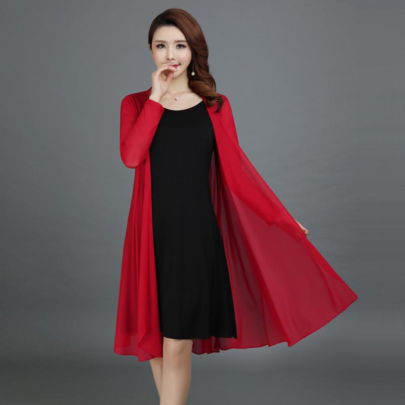 女士风衣 新款2017春夏女式风衣长款宽松大码披肩开衫中年30-40-50长袖外套_推荐淘宝好看的女士风衣