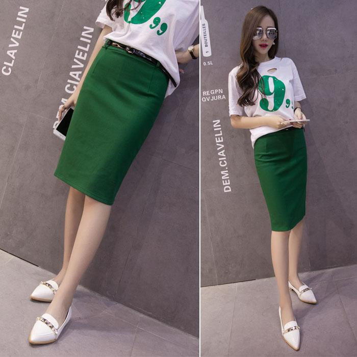 绿色半身裙 2017韩版夏季新款棉质包臀中长款后开叉显瘦半身裙子后开叉半截裙_推荐淘宝好看的绿色半身裙