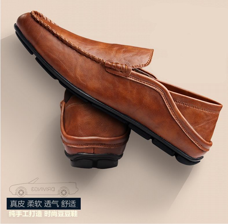 黄色豆豆鞋 秋季男士男鞋休闲真皮棕色豆豆鞋懒人潮鞋青年黄色平底英伦牛皮鞋_推荐淘宝好看的黄色豆豆鞋