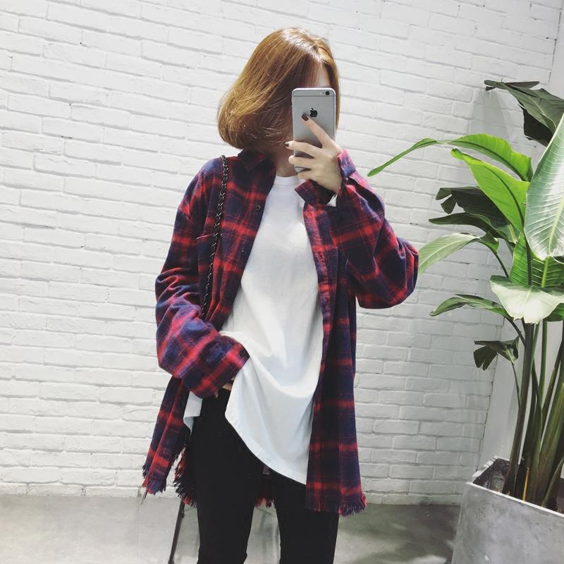 红色格子衬衫 A7SEVEN 流苏格子衬衫女秋冬韩版学生宽松显瘦中长款长袖衬衣外套_推荐淘宝好看的女红色格子衬衫