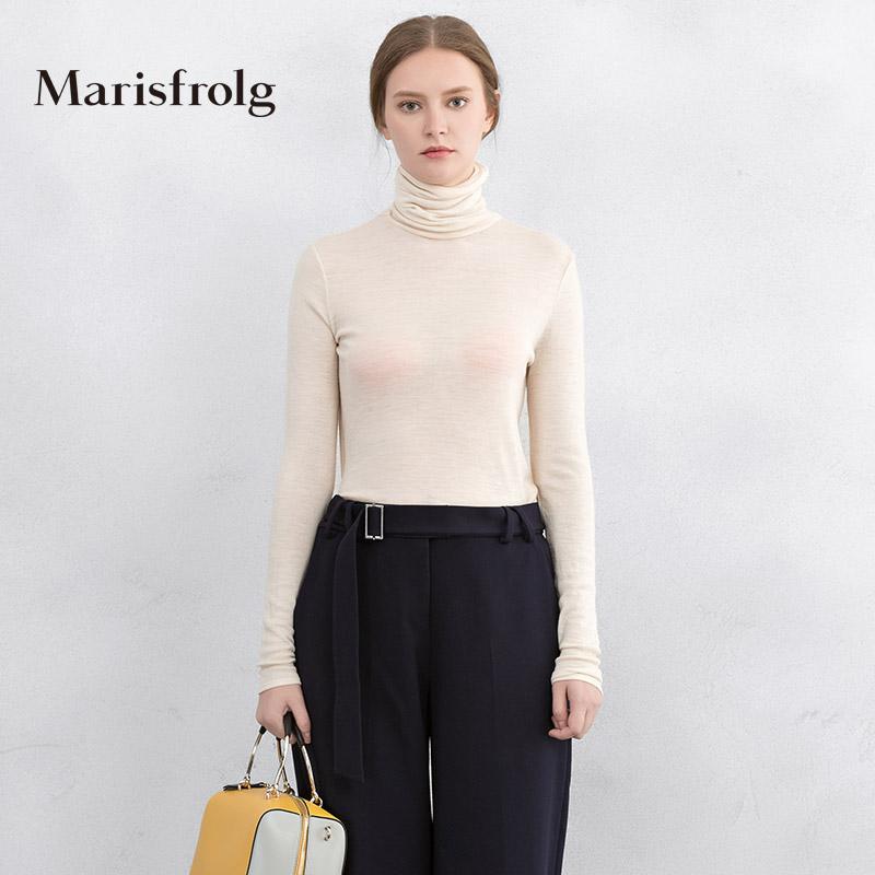 玛丝菲尔女装 Marisfrolg玛丝菲尔女装时尚高领羊毛打底针织衫上衣秋专柜正品_推荐淘宝好看的玛丝菲尔