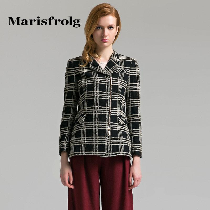 玛丝菲尔正品代购 Marisfrolg玛丝菲尔女装气质时尚格纹复古羊毛外套秋装专柜正品_推荐淘宝好看的玛丝菲尔
