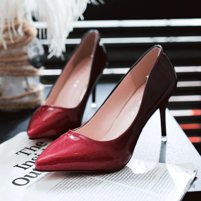 粉红色高跟鞋 2017新春秋款渐变漆皮擦色单鞋 女亮光粉红色女鞋尖头细跟高跟鞋_推荐淘宝好看的粉红色高跟鞋