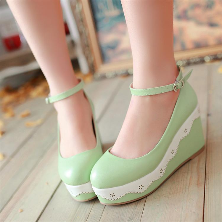 绿色坡跟鞋 坡跟绿色粉色白色结婚鞋伴娘鞋麦 大码鞋 40 41 42 小码鞋 32 33_推荐淘宝好看的绿色坡跟鞋