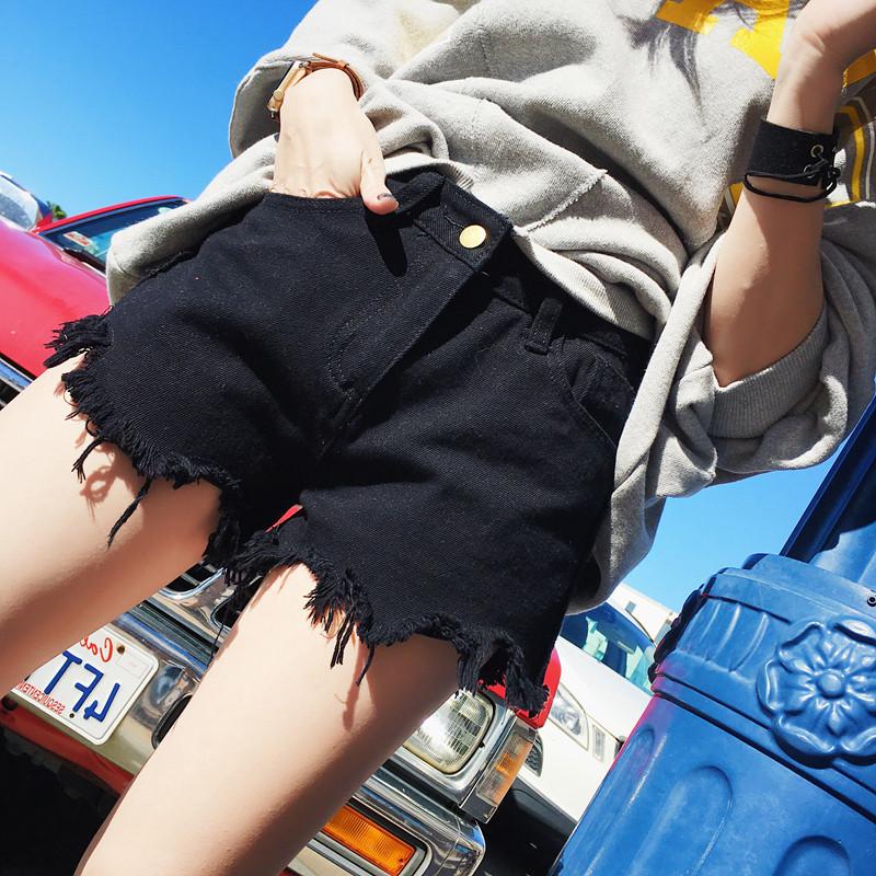 高腰短牛仔裤 牛仔裤女春夏季2017新款裤子韩版百搭高腰热裤毛边黑色牛仔短裤夏_推荐淘宝好看的女高腰短牛仔裤