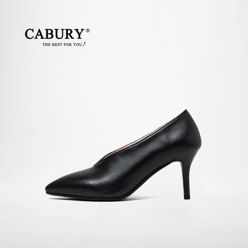 淘宝网高跟鞋 Cabury2017秋季新款女鞋真皮细跟单鞋尖头性感黑色V形口高跟鞋子_推荐淘宝好看的女高跟鞋