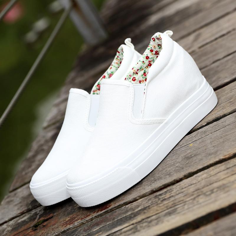 白色松糕鞋 一脚蹬懒人鞋女厚底内增高布鞋松糕跟休闲白色学生韩版34码小白鞋_推荐淘宝好看的白色松糕鞋