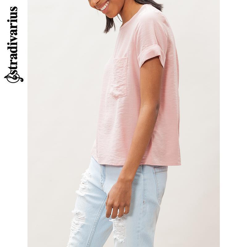 粉红色雪纺衫 Stradivarius 女装 带口袋雪纺衫 02010223143_推荐淘宝好看的粉红色雪纺衫
