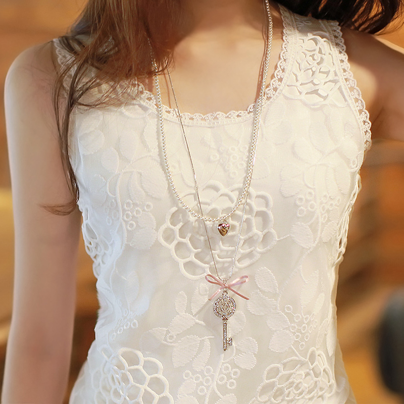 蕾丝背心 春夏女装大码白色小吊带背心短款蕾丝工字外穿纯色修身女士打底衫_推荐淘宝好看的女蕾丝背心