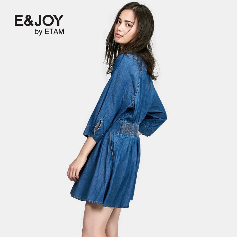 艾格连衣裙 Etam艾格 E&joy 2016秋新品纯色收腰牛仔连衣裙16082210148_推荐淘宝好看的艾格连衣裙