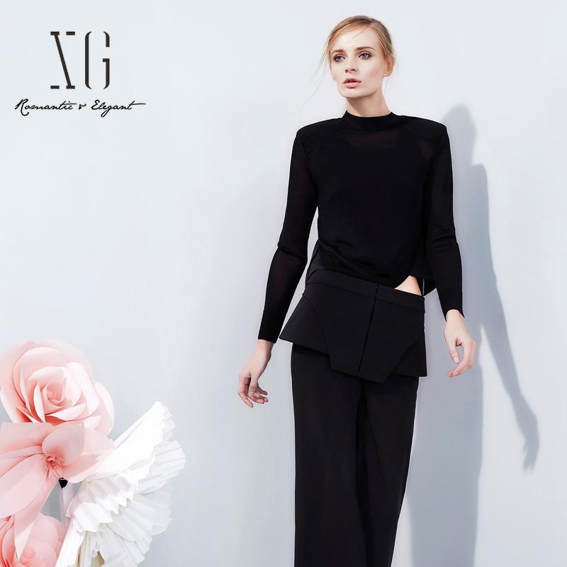 两件套针织衫 XG黑色两件套针织衫女 圆领长袖修身显瘦套头毛衫XC109011A190_推荐淘宝好看的女两件套针织衫
