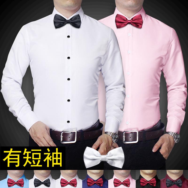 黑色衬衫 韩版男士修身长袖白色衬衫新郎结婚伴郎兄弟团t结婚礼服短寸衣潮_推荐淘宝好看的黑色衬衫