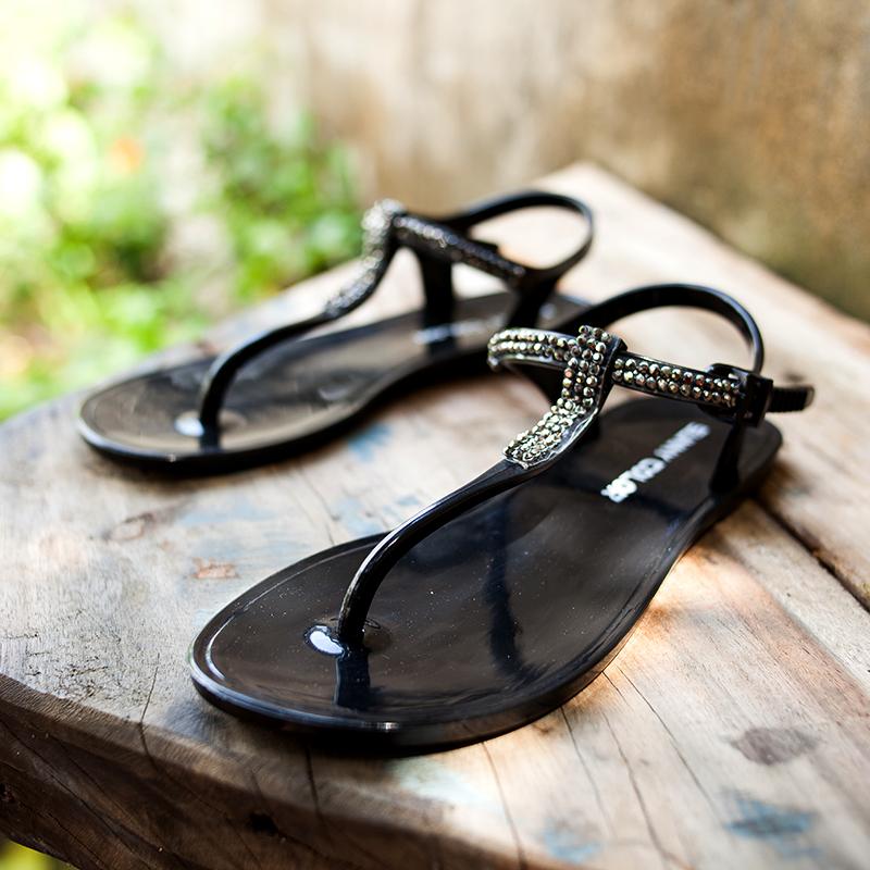 夏季平底罗马鞋 SUNNY COLOR夏季平底凉鞋女士学生防滑沙滩鞋水钻夹脚平跟罗马鞋_推荐淘宝好看的女夏季平底罗马鞋