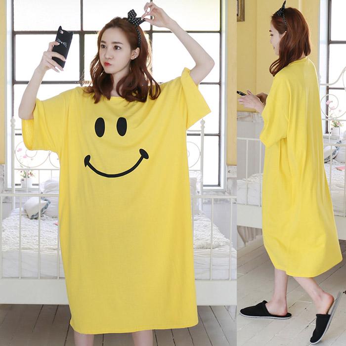 黄色连衣裙 夏季韩版大码宽松显瘦长款短袖睡裙女连衣裙过膝黄色休闲纯棉长裙_推荐淘宝好看的黄色连衣裙
