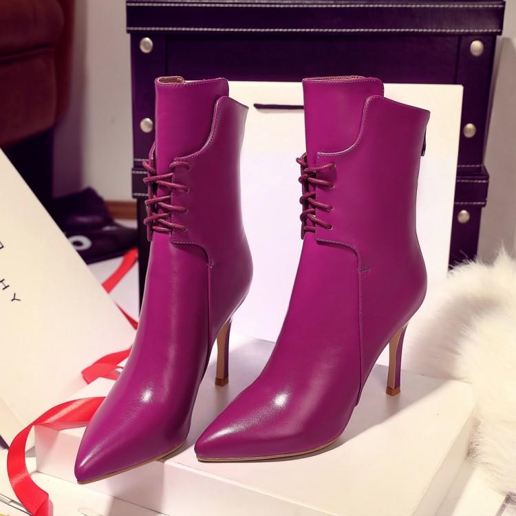 紫色尖头鞋 真皮中筒靴细跟高跟女鞋秋冬季新款尖头女靴时尚紫色系带牛皮女鞋_推荐淘宝好看的紫色尖头鞋