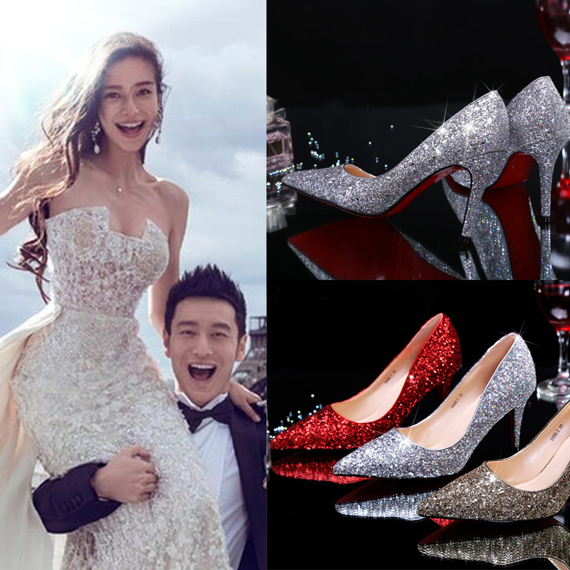 尖头高跟鞋 百搭婚鞋尖头新娘鞋韩版金银色亮片结婚高跟鞋红色休闲细跟单鞋女_推荐淘宝好看的女尖头高跟鞋