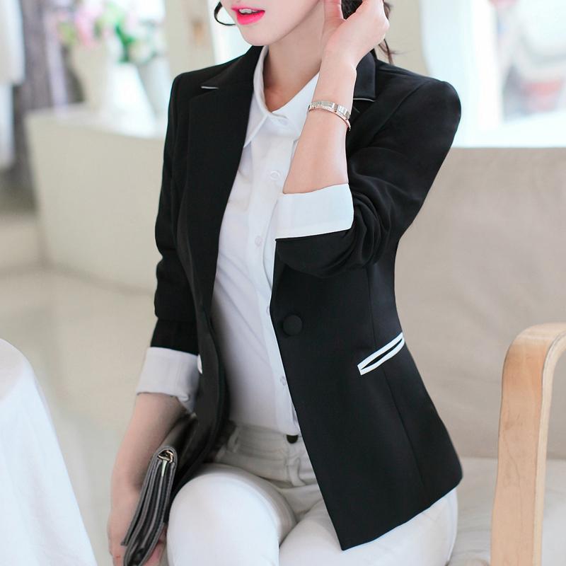 一粒扣小西装 蕾可妮斯2017新款女士西服小西装女韩版修身显瘦长袖春秋百搭外套_推荐淘宝好看的女一粒扣小西装