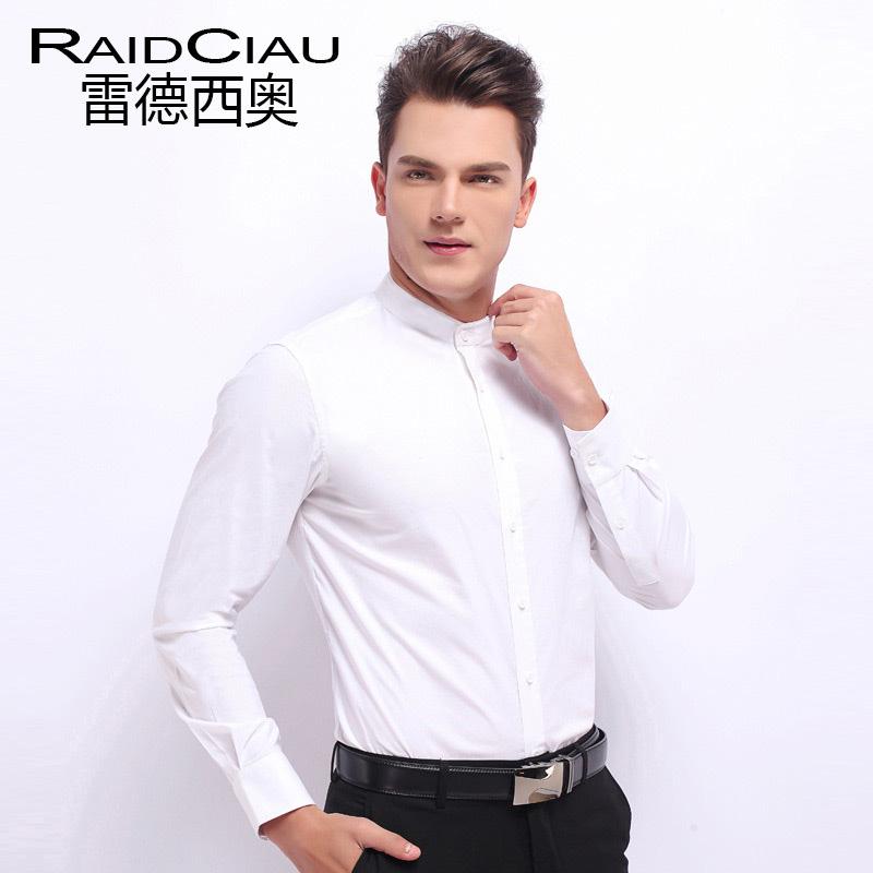 黑色衬衫 雷德西奥丝光棉小立领白衬衫男士长袖小领中山圆领装衬衣免烫修身_推荐淘宝好看的黑色衬衫
