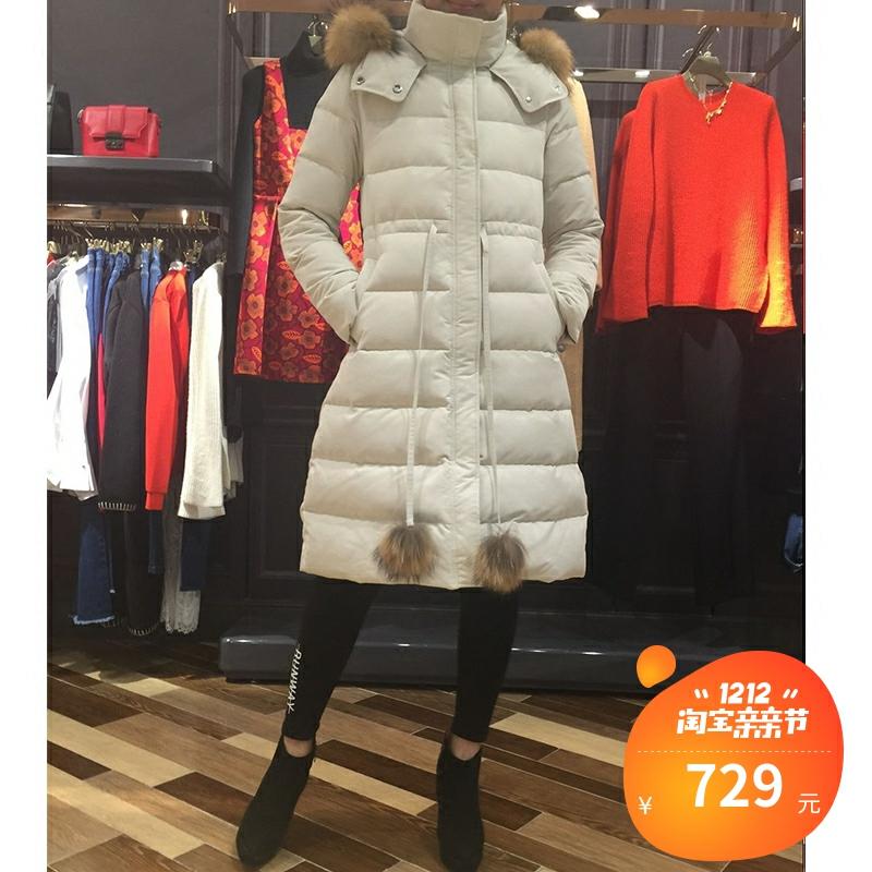 欧时力羽绒服 蒂欧时力妮2016新款女冬装中长款毛领羽绒服外套女DMJ1HY4331680_推荐淘宝好看的欧时力羽绒服
