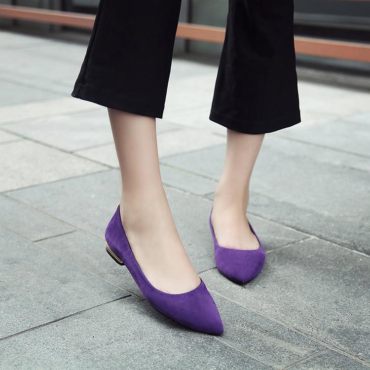 紫色平底鞋 优雅紫色平跟单鞋浅口磨砂女平底鞋春绿色低帮尖头鞋韩版小红鞋_推荐淘宝好看的紫色平底鞋