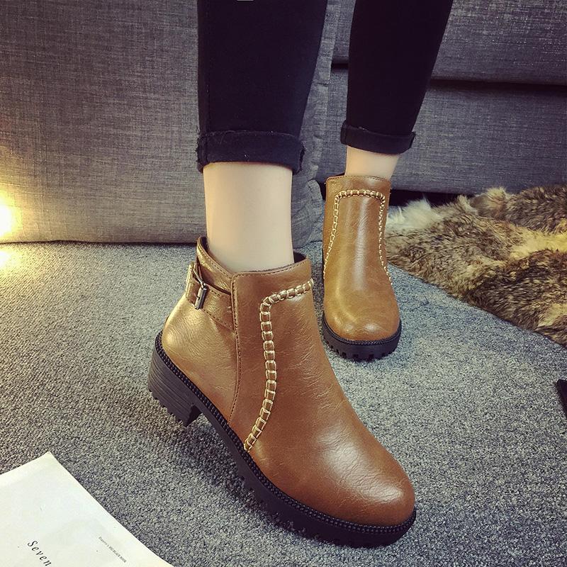 高跟厚底鞋 秋冬季韩版女鞋中跟高跟马丁靴英伦风加绒厚底粗跟短筒短靴女靴子_推荐淘宝好看的女高跟厚底鞋