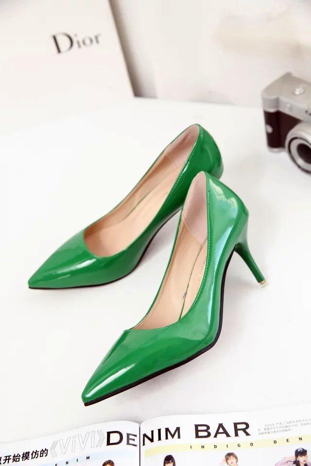 绿色单鞋 欧美风墨绿色浅口尖头女鞋 6CM舒适浅口单鞋通勤白领性感红色婚鞋_推荐淘宝好看的绿色单鞋