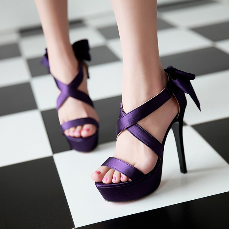 紫色凉鞋 夜店性感紫色超高跟鞋凉鞋女鞋夏黑色沙丁细跟鞋大码40 41 42 43_推荐淘宝好看的紫色凉鞋