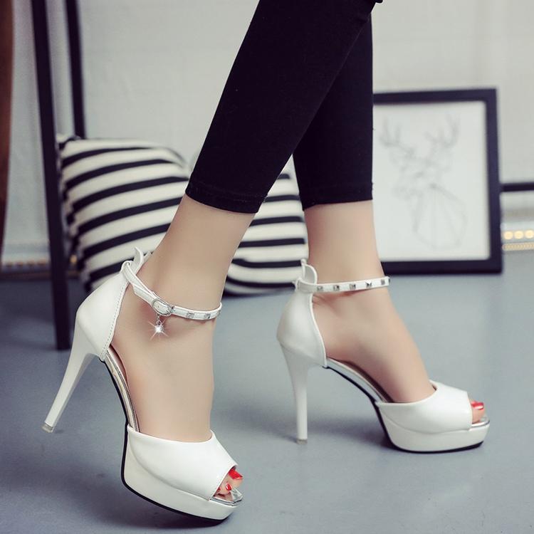 白色鱼嘴鞋 夏季新款12cm超高跟鱼嘴凉鞋细跟防水台女鞋一字扣浅口白色高跟鞋_推荐淘宝好看的白色鱼嘴鞋