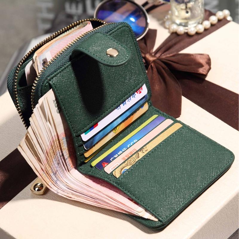 绿色钱包 钱包女新款韩版潮学生时尚短款多功能拉链小钱包甜美零钱包大钞夹_推荐淘宝好看的绿色钱包