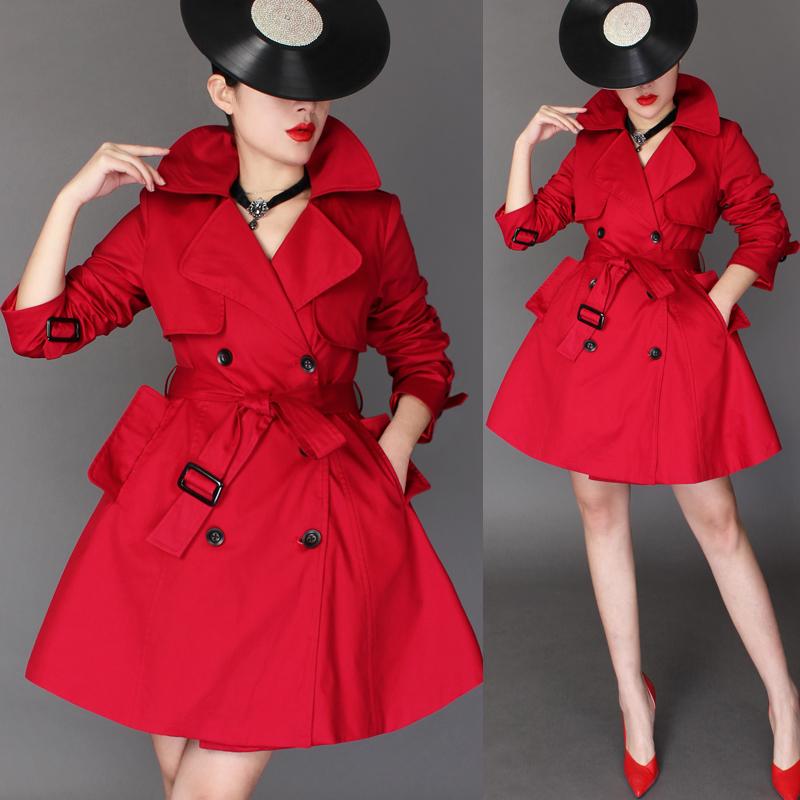 红色风衣 2016春装新款韩版中长款系带收腰风衣女 双排扣气质修身裙摆外套_推荐淘宝好看的红色风衣