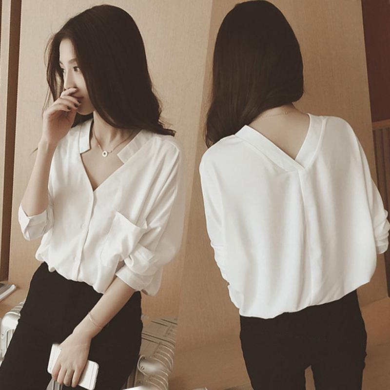 白衬衫 秋季韩版休闲宽松打底衫上衣V领衬衣雪纺衫白色长袖衬衫女士韩范_推荐淘宝好看的女白衬衫