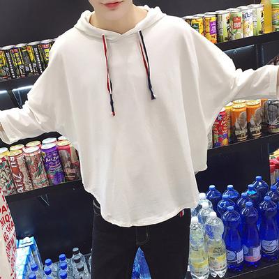 黑色T恤 韩版男生七分袖t恤宽松连帽蝙蝠衫7分带帽夏季外套潮流夏天上衣_推荐淘宝好看的黑色T恤