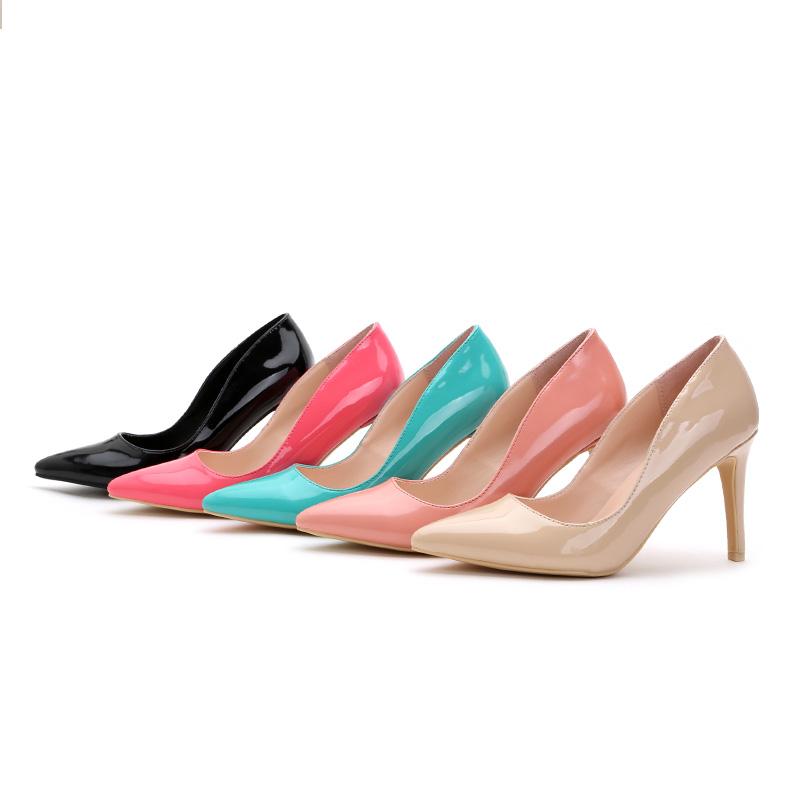 粉红色单鞋 秋季尖头细跟单鞋粉红色漆皮杨幂高跟鞋套脚浅口真皮性感裸色女鞋_推荐淘宝好看的粉红色单鞋