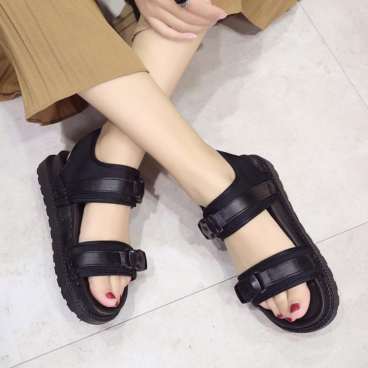 绿色罗马鞋 韩国夏季平底凉鞋女士罗马鞋墨绿色舒适孕妇防滑露趾学生沙滩厚底_推荐淘宝好看的绿色罗马鞋