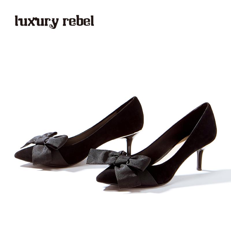 女性高跟鞋 LR女鞋Luxury Rebel2017秋季新款黑色蝴蝶结尖头细跟单鞋中高跟_推荐淘宝好看的女高跟鞋