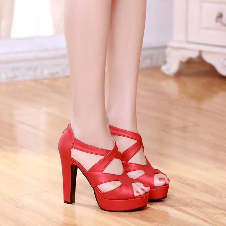红色鱼嘴鞋 17年夏季红色超高跟女凉鞋粗跟鱼嘴包跟后拉链防水台欧美黑色凉鞋_推荐淘宝好看的红色鱼嘴鞋