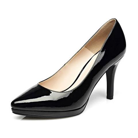 女性高跟鞋 Daphne达芙妮 杜拉拉系列 高跟防水台漆皮亮面女单鞋1715101909_推荐淘宝好看的女高跟鞋